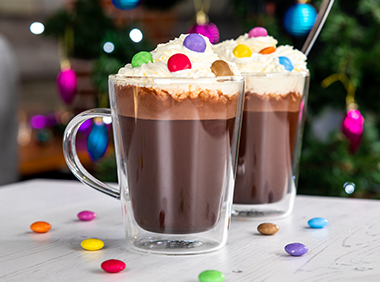 two glasses of Smarties® hot chocolate
