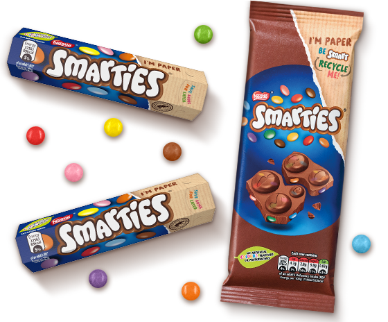 Smarties packshot including two Smarties tubes & a chocolate bar